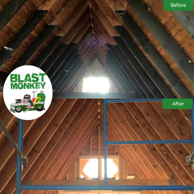 Blasted Dark Stain From A Frame Home Ceiling Beams