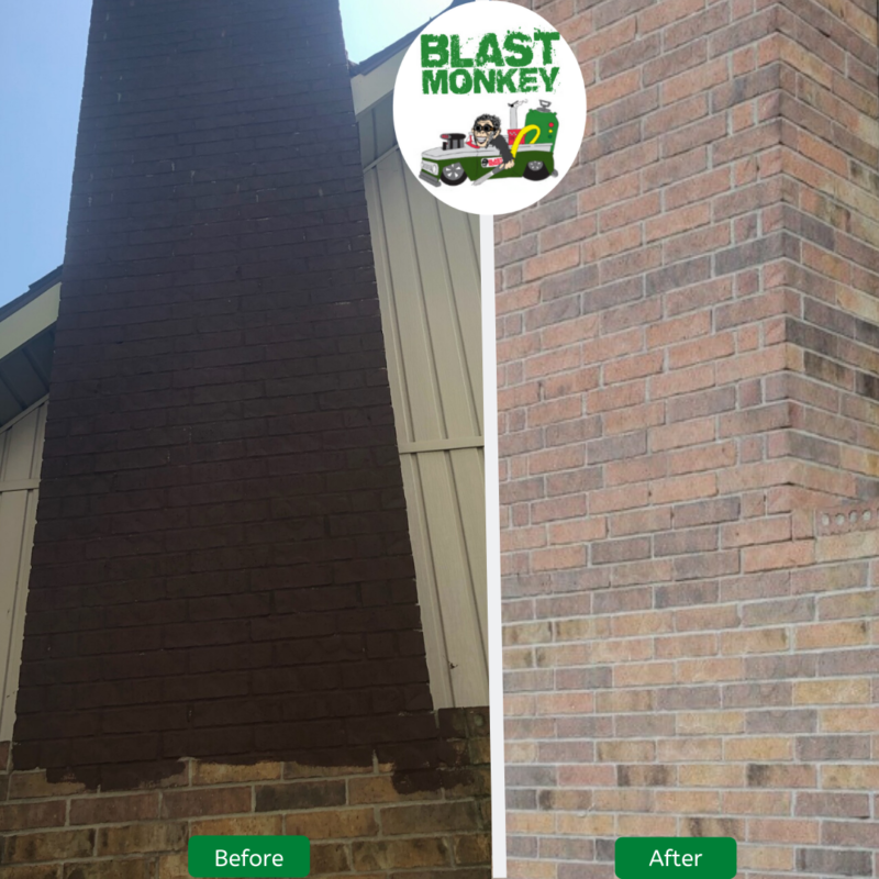 Blasted dark paint from chimney