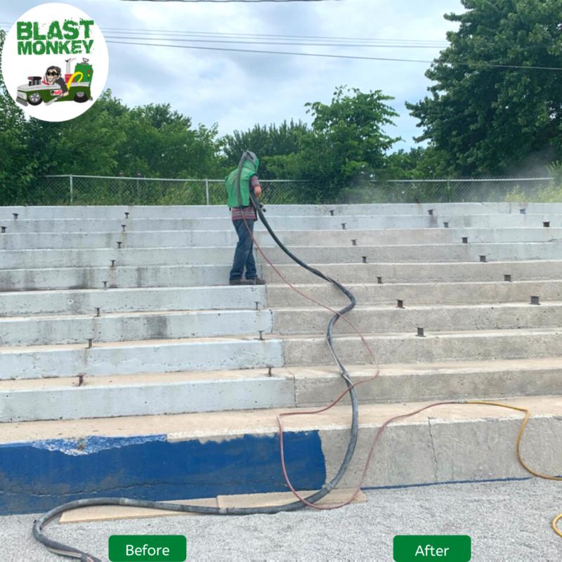 Sandblasting Concrete Bleachers Blast Monkey of KC