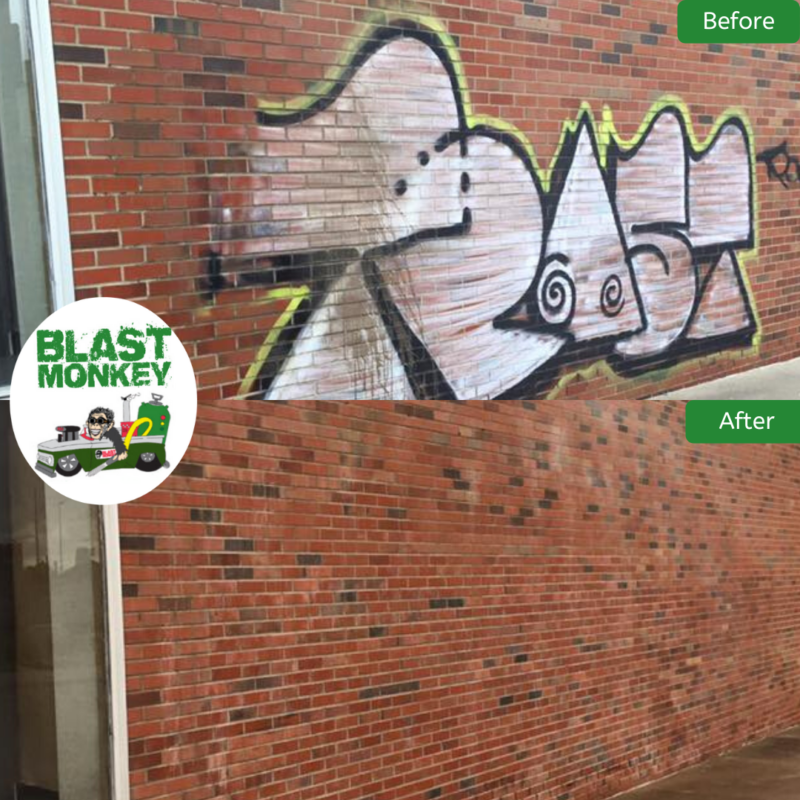 Blasted graffiti from this storage facility Downtown Kansas City