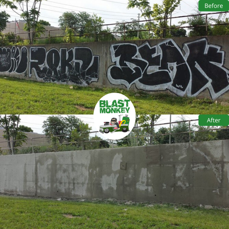 Graffiti Removed from Concrete Wall KC