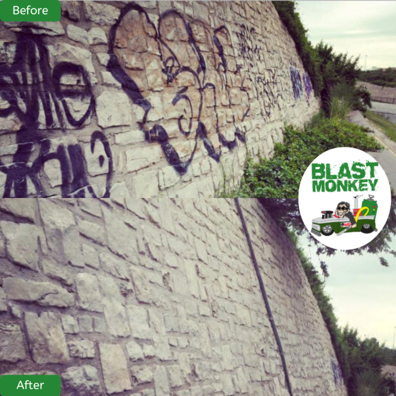 Graffiti Removal from Stone Wall in Kansas City