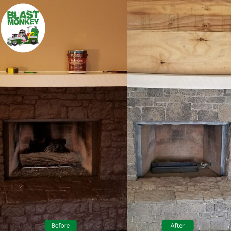 Blast Ugly Paint Off Stone Fireplace